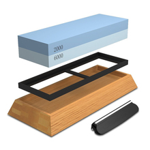 Hot sale Sharpening Stone For Knives, Professional Waterstones Combination Grit 2000/6000 Whetstone Sharpening with Bamboo Bas