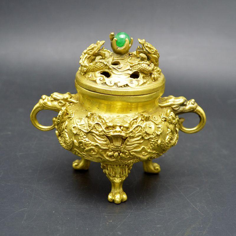 Le cuivre pur neuf tourne au paradis et à la terre poêle, ornements feng shui, collection d'antiquités, artisanat décoratif.