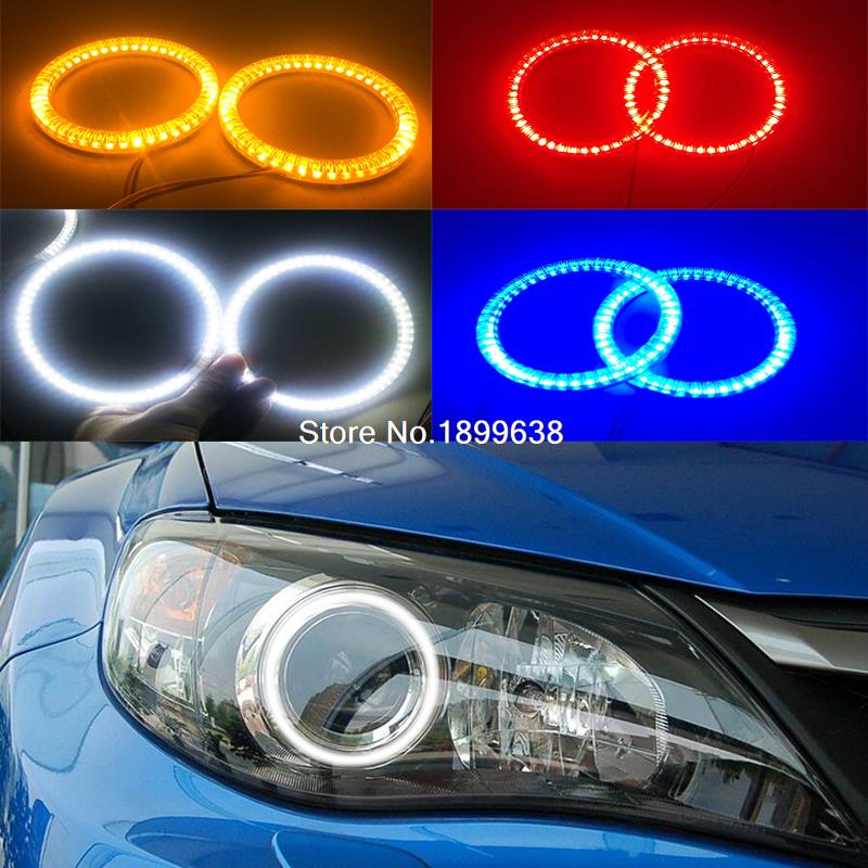 Super bright red blue yellow white 3528 smd led angel eyes halo rings car styling for Subaru Impreza WRX STI 2007 2008 to 2011 92mm ext diameter 2pcs super bright led angel eyes rings with dimming function white red orange green blue optionally