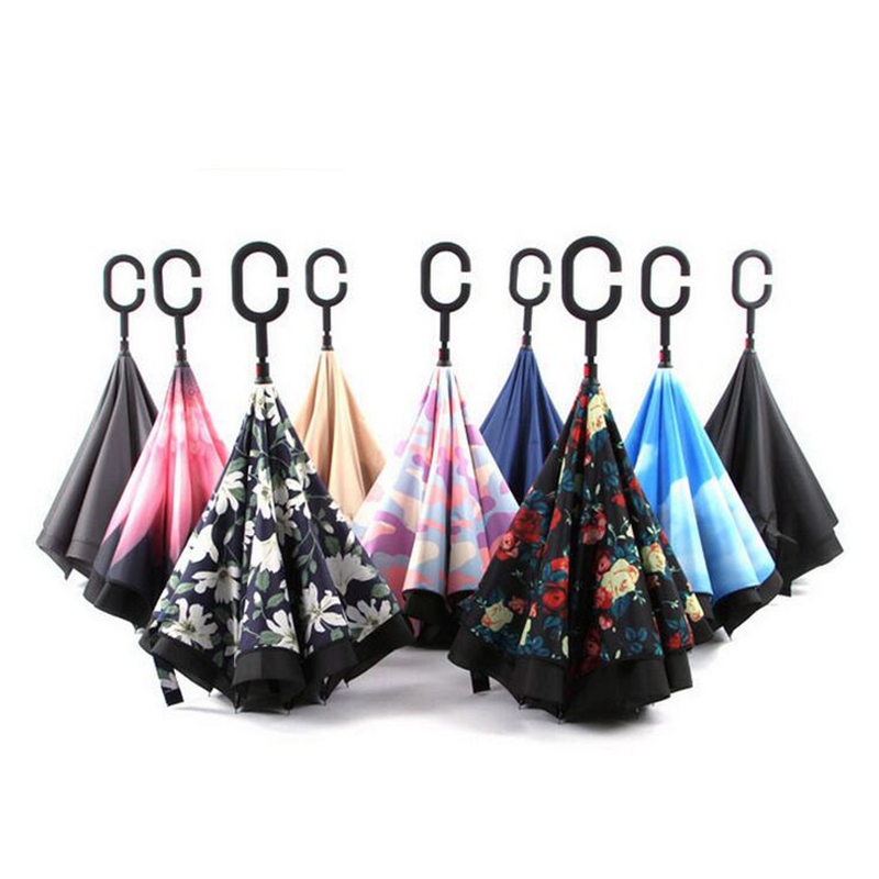 C-Hook Hands Car Umbrella Windproof Reverse Folding Double Layer Inverted Umbrella Self Stand Inside Out Rain paraguas s46