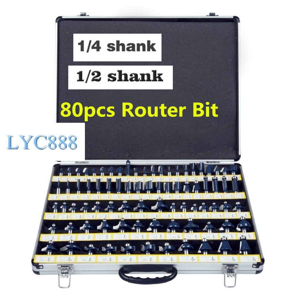 80pcs/set Milling Cutter Bits Set 6.35mm/12.7mm Shank Multi-function Trimming Machine Milling Cutter Set Woodworking Router Bits
