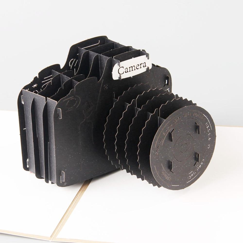 3d Camera Laser Cut Pop Up Paper Postcards Custom Handmade
