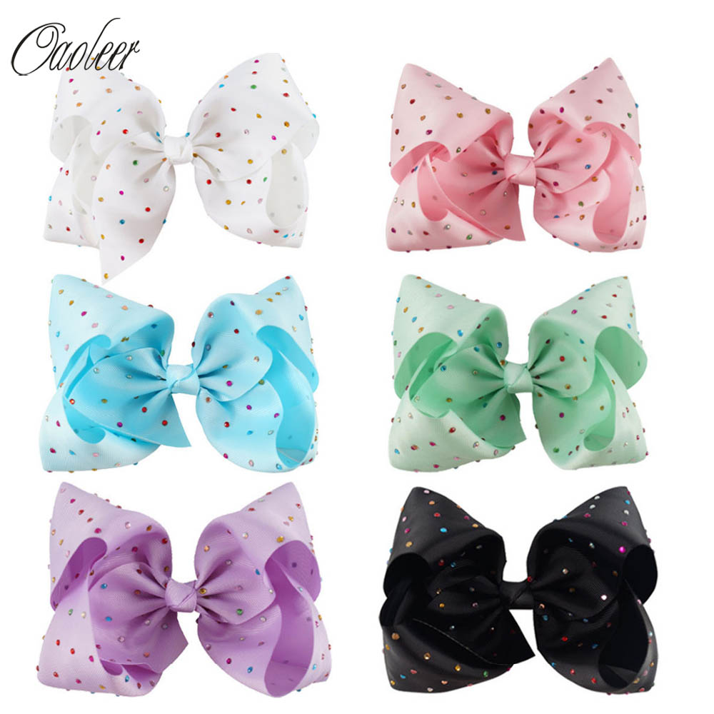 "3pcs/lot 7"" Large Candy Color Hair Clip With Colorful Rhinestone Hair Bow For Popular Girl Dance Party Hair Accessories"