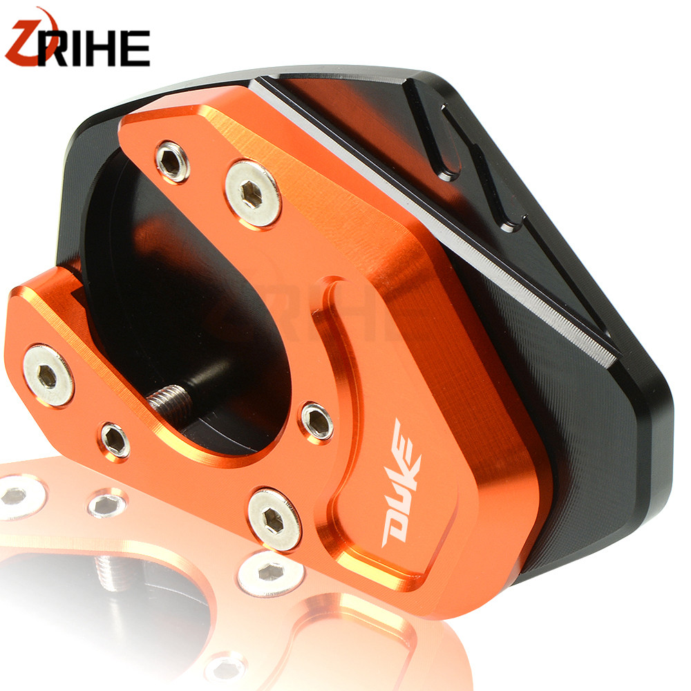 Motorcycle Side Stand Enlarger CNC Kickstand Enlarge Plate Extension Pad Orange for KTM DUKE 125 200 390 690 2013-2018 2017 <font><b>2016</b></font> image