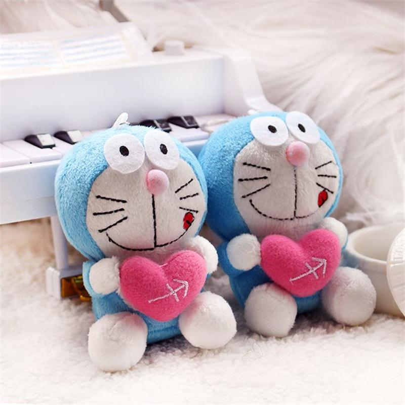 10pc 9CM Kawaii Love Heart Doraemon Stuffed Animal kids Plush toys dolls Valentines DAY Gift Key Chain small Pendant Toy