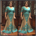 Plus Size V Neck 2017 Mother Of The Bride Dresses Half Sleeve Green Lace Long Evening Dresses Bride/Groom Mother Dresses