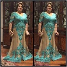 Plus Größe V-ausschnitt 2017 Mutter Der Braut Kleider Halbes Hülsen Grün Spitze Lange Abendkleider Braut/Bräutigam mutter Kleider