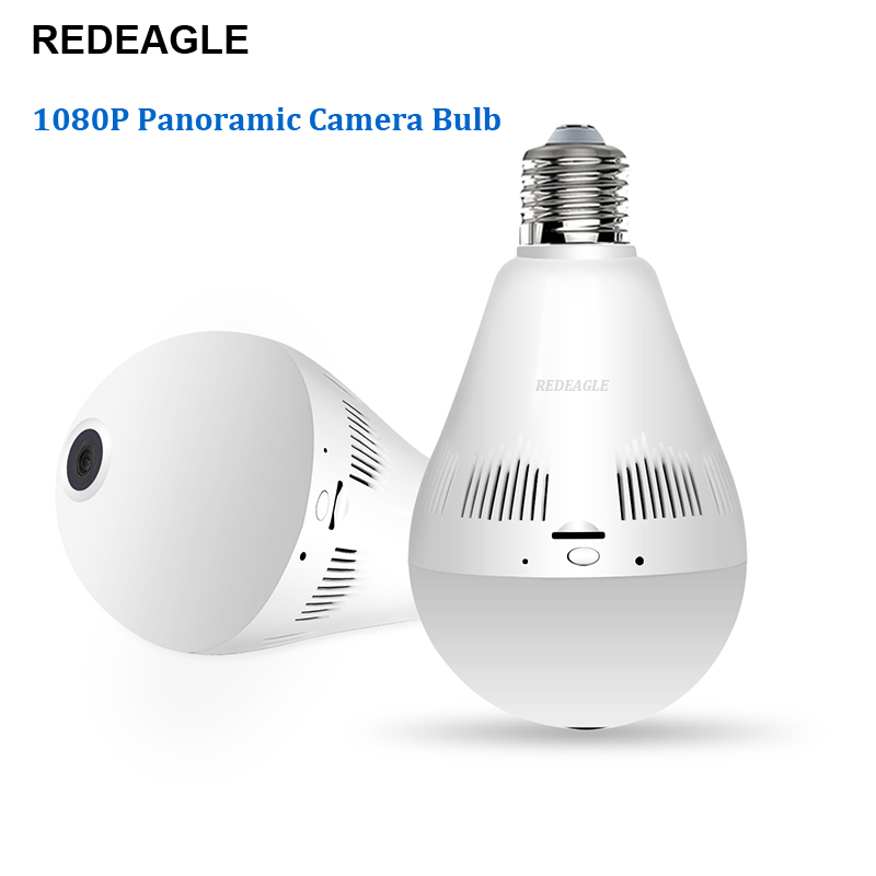 REDEAGLE Wifi IP Camera 1080P Light Bulb 360 Degree Wi-Fi Fisheye CCTV Camera 2.0MP Home Security Wireless Panoramic Camera 360 degree wifi camera wi fi bulb 1080p wireless ip camera with fisheye lens panoramic remote home security system night vision