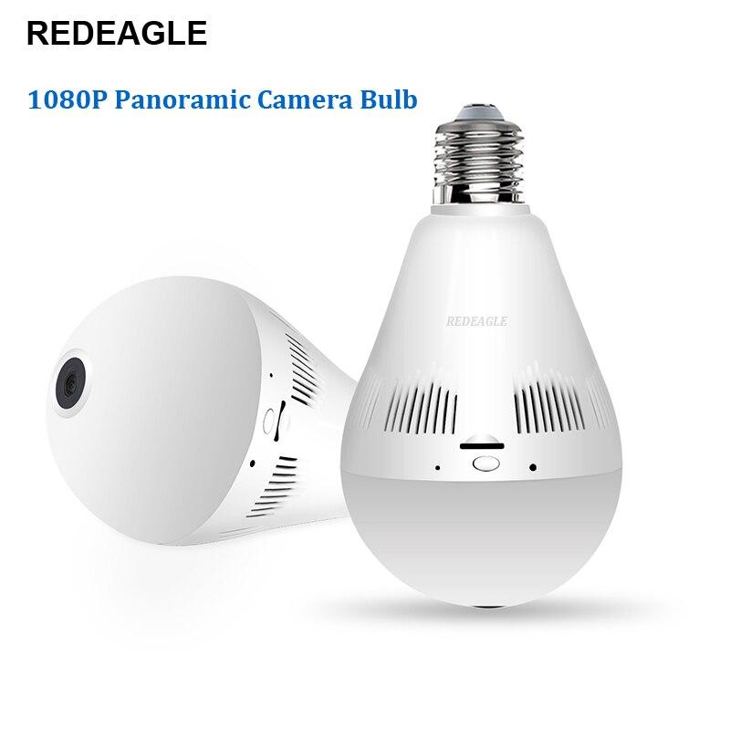 REDEAGLE Wifi IP Camera 1080P Light Bulb 360 Degree Wi Fi Fisheye CCTV Camera 2.0MP Home Security Wireless Panoramic Camera