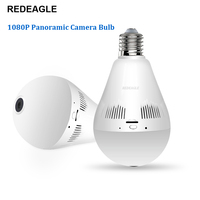REDEAGLE Wifi IP Camera 1080P Light Bulb 360 Degree Wi Fi Fisheye CCTV Camera 2.0MP Home Security Wireless Panoramic Camera