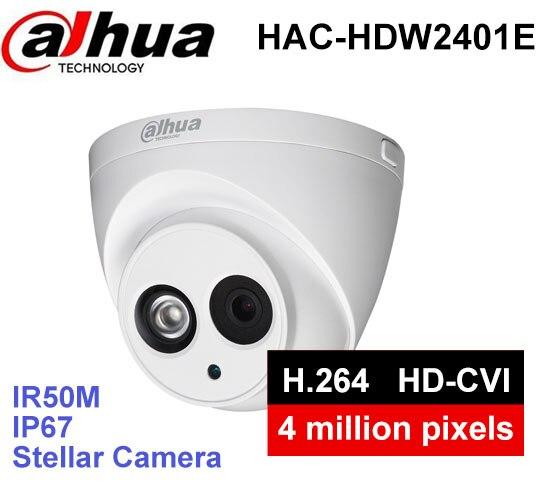 Dahua HAC-HDW2401E security Camera 1/3'' COMS 4Megapixel IR 50M IP67 outdoor HDCVI camera stjiatu st399 1 4 coms 900 line pal surveillance security camera w 6 ir led power adapter holder
