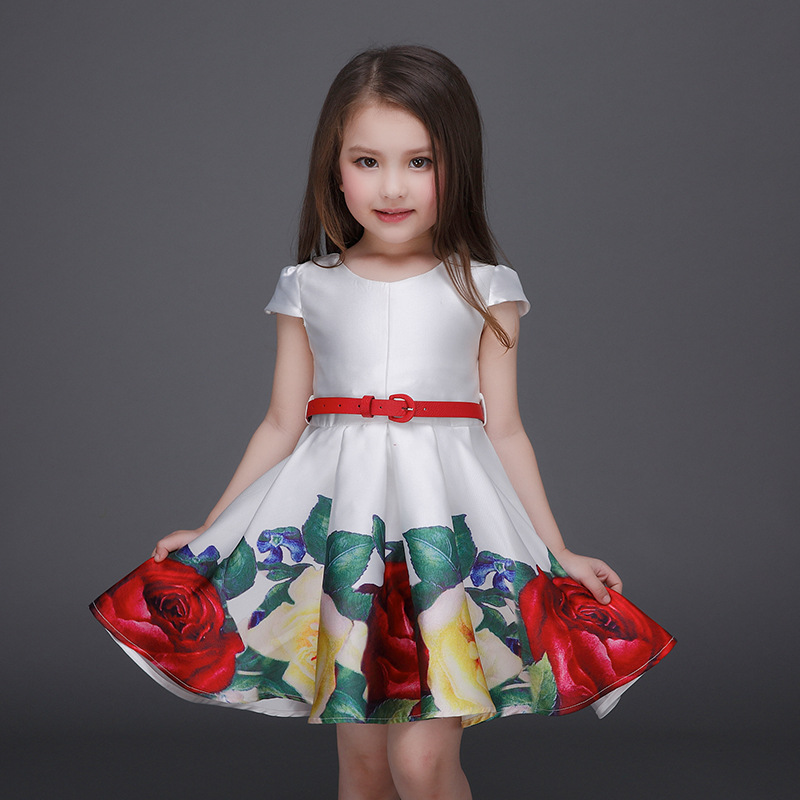 2016 Baby Girls Print Floral Dresses Kids Girl Autumn Princess Dress Babies Cotton tutu Party Dress bebe Christmas Clothing