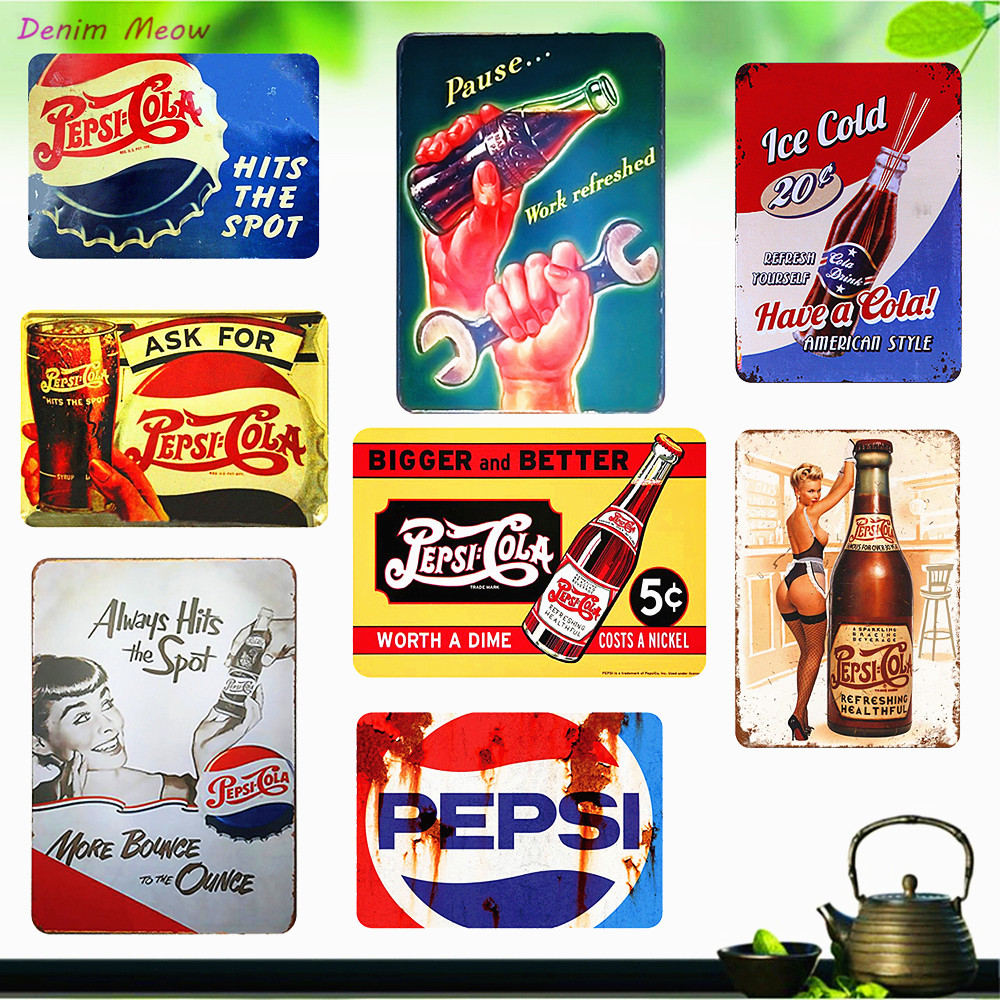 American Style Have A Cola Metal Signs Vintage Ice Cold Drink Plaque Bar Cafe Family Decorative Wall Stickers Art Posters WY24