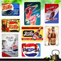 Style américain ont un Cola métal signes Vintage glace boisson froide Plaque Bar café famille décorative Stickers muraux Art affiches WY24