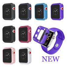 LXsmart Suave Silicone Capa Case Para Apple iWatch Relógio banda 40 4mm 44mm Série 4 Full Frame Proteção shell
