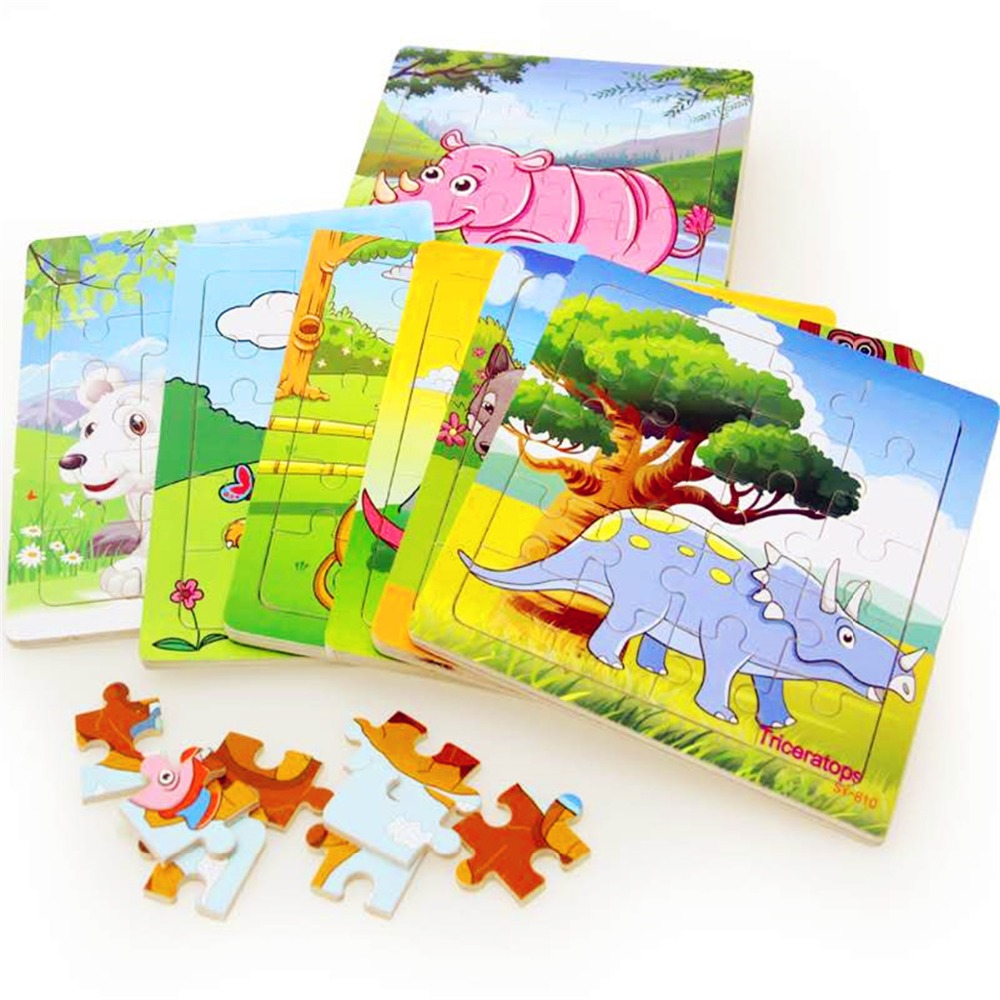 Wooden Puzzle Kids Toy Baby Wooden Jigsaw Puzzles Cartoon Dinosaur Animal Early Educational Toys For Children 9/20 Small Piece