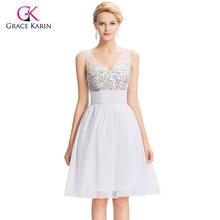 18e75e80c9ea Bianco Prom Dresses 2018 Grazia Karin Sexy scollo a V Blu di Cristallo  paillettes Abiti in chiffon Breve Promenade di Ritorno A ..