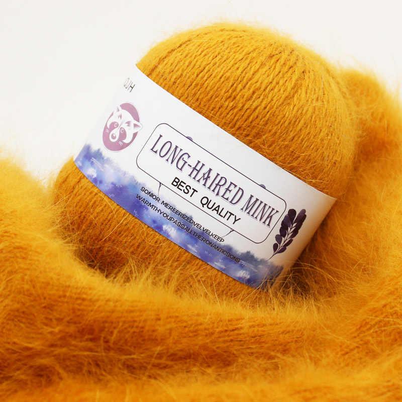 Kualitas Tinggi Kasmir Panjang Mewah Mink Benang Benang Wol Merino untuk Tenun Sweater Hat Syal Anti Pilling Benang untuk rajut Tangan