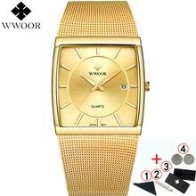 Мужские наручные часы WWOOR, люксовый бренд 2019, водонепроницаемые, деловые, кварцевые, квадратные, золотые, мужские, модные, наручные часы для мужчин 2019