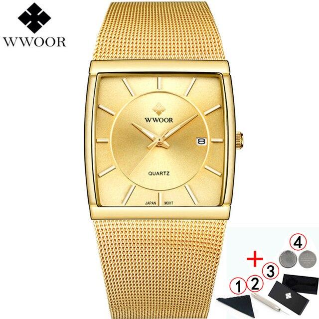 WWOOR relojes de marca de lujo para hombre, reloj masculino de pulsera cuadrado de cuarzo dorado, resistente al agua, 2019