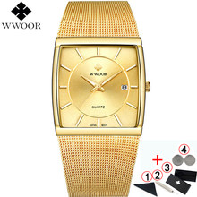Watches Men Top Luxury Brand 2019 WWOOR Waterproof Business Quartz Square Gold Watch Mens Fashion Wrist watches For Men 2019(China)