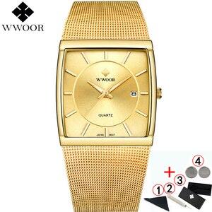 Image 1 - Watches Men Top Luxury Brand 2019  WWOOR Waterproof Business Quartz Square Gold Watch Mens Fashion Wrist watches For Men 2019