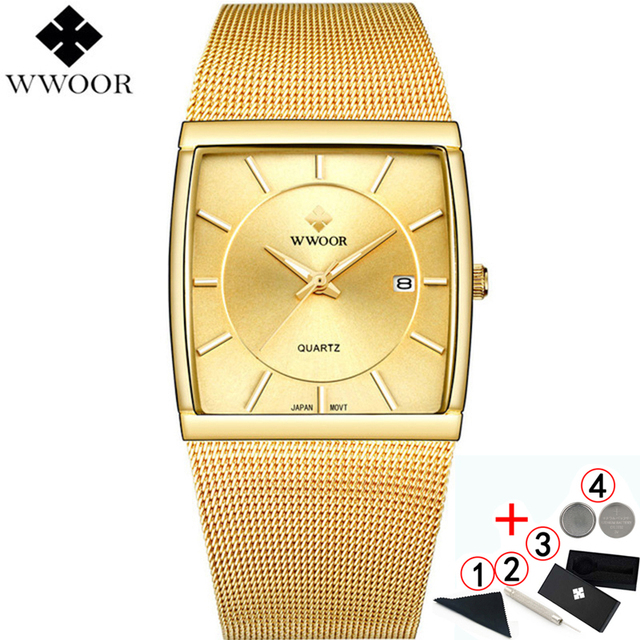 Watches Men Top Luxury Brand 2019  WWOOR Waterproof Business Quartz Square Gold Watch Mens Fashion Wrist watches For Men 2019