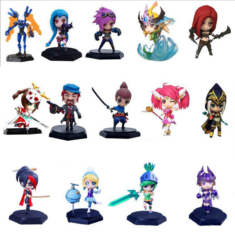 Game LOL Characters PVC Action Figure Toys 15cm Jinx Akali Yasuo Orianna Syndra all characters tracer reaper widowmaker action figure ow game keychain pendant key accessories ltx1