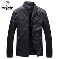 2019 Mens Faux Leather Jacket Male Washed Fleece Motorcycle Casual Stand Collar Fashion Winter Jacket Casual Coat