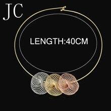Moda Joyería de la alta calidad de Italia 750 Pendientes de oro Collar colgante de 3 colores Del Banquete de Boda set