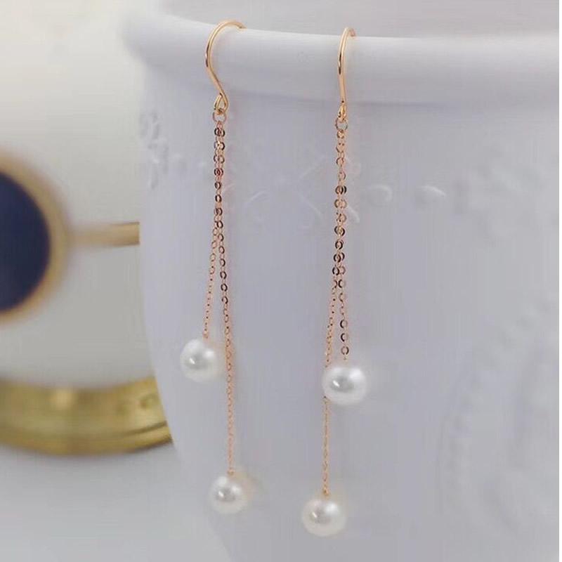 Solid AU750 Rose Gold Earrings Women Gold Link 7mm Pearls Dangle Earrings apart cm4t white
