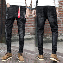 2019 Jeans Men's Ripped Personalized Paint Stretch Skinny Pants Fashion New Men's Casual Patch Pencil Jeans Plus Size(China)
