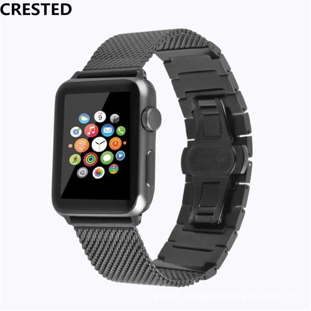 CRESTED stainless steel strap For Apple watch 4 band 44mm 40mm correa aplle Iwatch series 3/2/1 42mm/38 wrist Link Bracelet belt crested stainless steel strap for apple watch 4 band 44mm 40mm correa iwatch series 3 2 1 42mm 38mm wrist link bracelet belt
