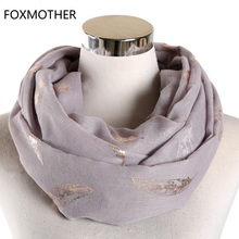 FOXMOTHER New Fashion Wraps Shawls Grey White Color Feather Ring Scarf Loop Scarves Ladies Women