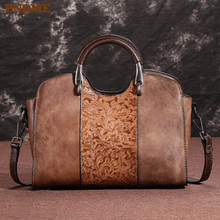 PNDME high quality vintage fashion hand embossed first layer cowhide genuine leather ladies handbag women shoulder messenger bag new arrival women handbag genuine leather tote bag famous brand embossed cowhide vintage messenger shoulder bags high quality