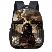 Locomotive Steam Train Kindergarten Backpack 12 Inch Kids School Bags Mini mochila Preschool Backpack for Children Book Bag