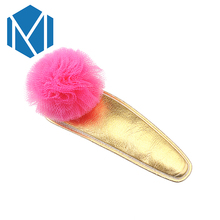 M MISM 6.5cm Length Beautiful Children Hairpins Headdress Bright PU with Candy Color PomPom Ball Hairgrip Girl Hair Accessories