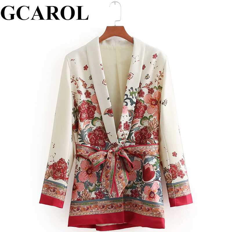 GCAROL Autumn New Arrival Women Open Stitch Floral Belt Blazer Jackets Notched Collar Suit Coats Vintage Outwears For Ladies