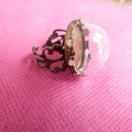 10set/lot 15mm&20mm half round glass dome bottle with bronze adjusable  ring base---size option