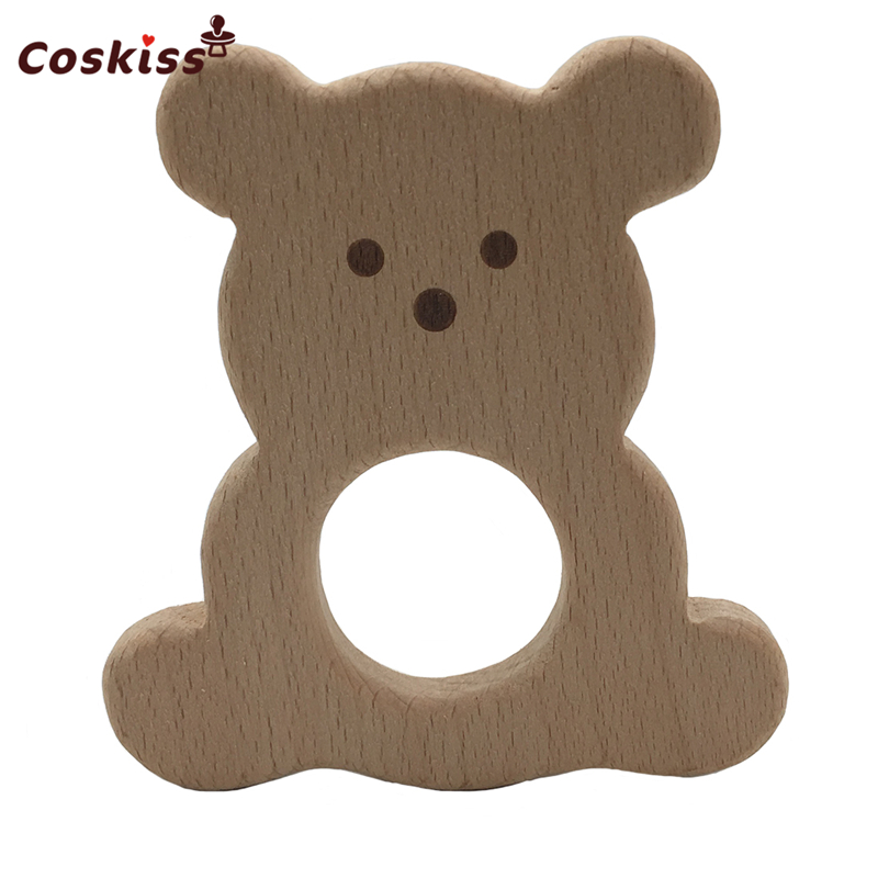 50pcs Baby Teether Toys Wood Bear Nursing Teether Pendants DIY Baby Infants Tooth Care Products BPA Free Wooden Teether