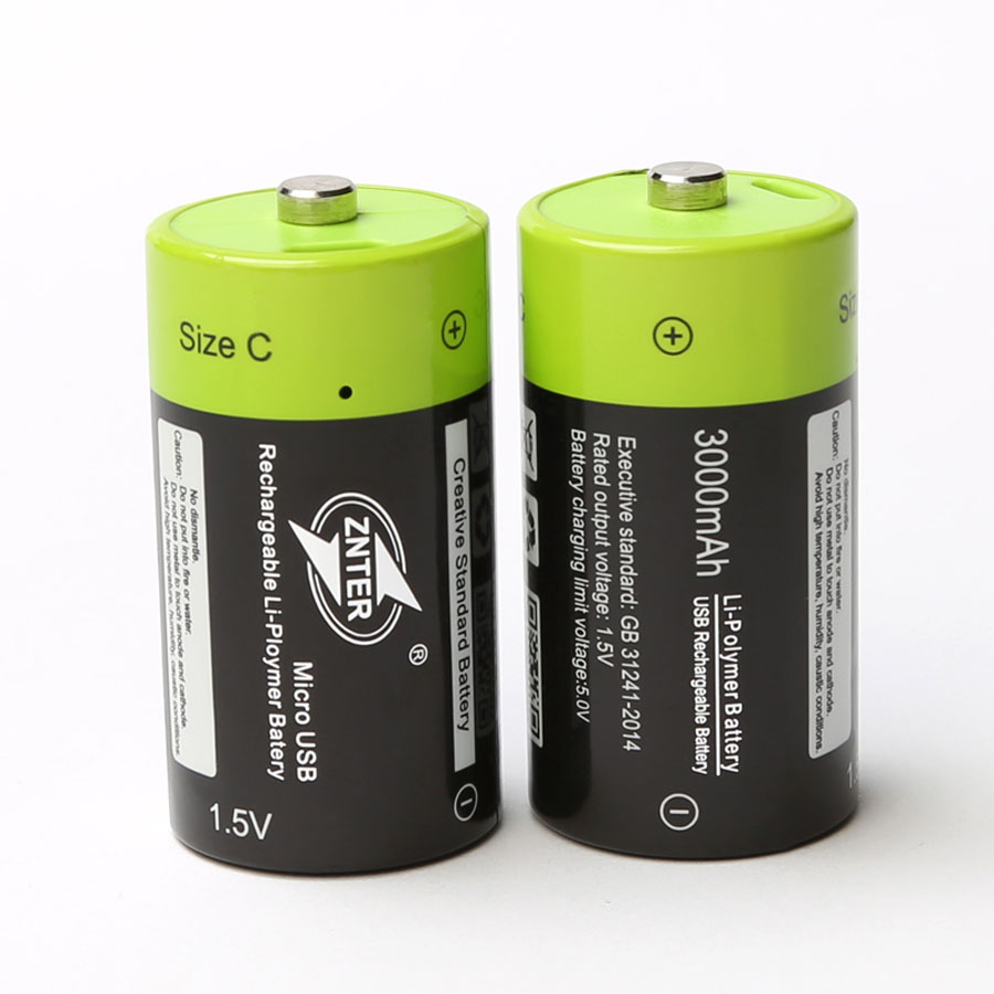 ZNTER 1.5V 3000mAh USB Rechargeable Battery Size C Charged Lipo Lithium Polymer Batteria Universal Micro USB Charging Batteries