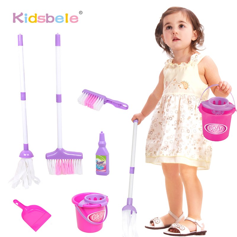 Kids Toys Baby Play Housekeeping Toys Mini Simulation Mop Broom Bucket Swab Kids Role Playing Pretend Play Educational Toy