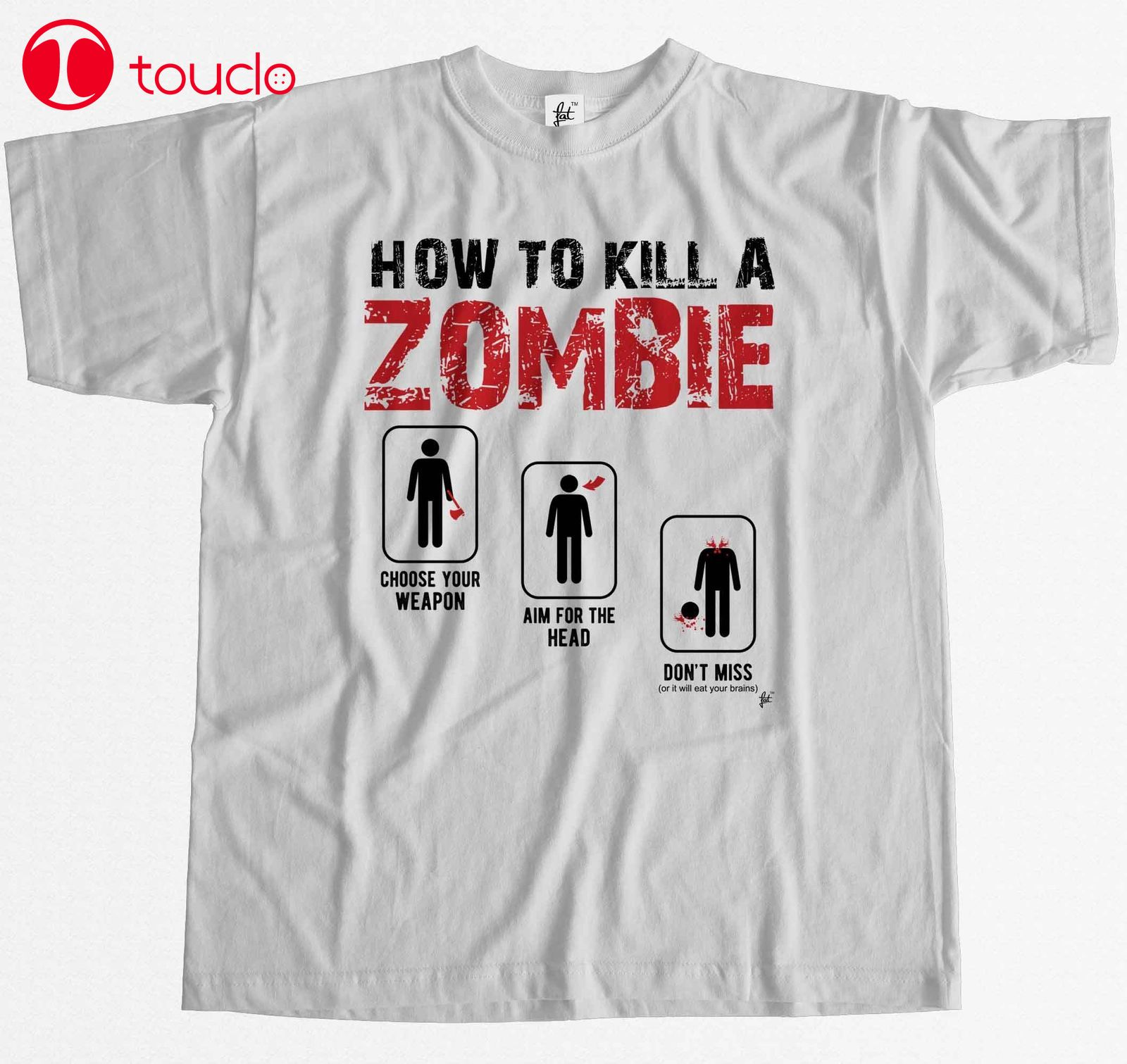 2019 T-Shirt Cartoon T Shirt How To Kill A Zombie Choose Aim Don'T Miss Survival Mens T-Shirt Movie Shirt Hoodies image