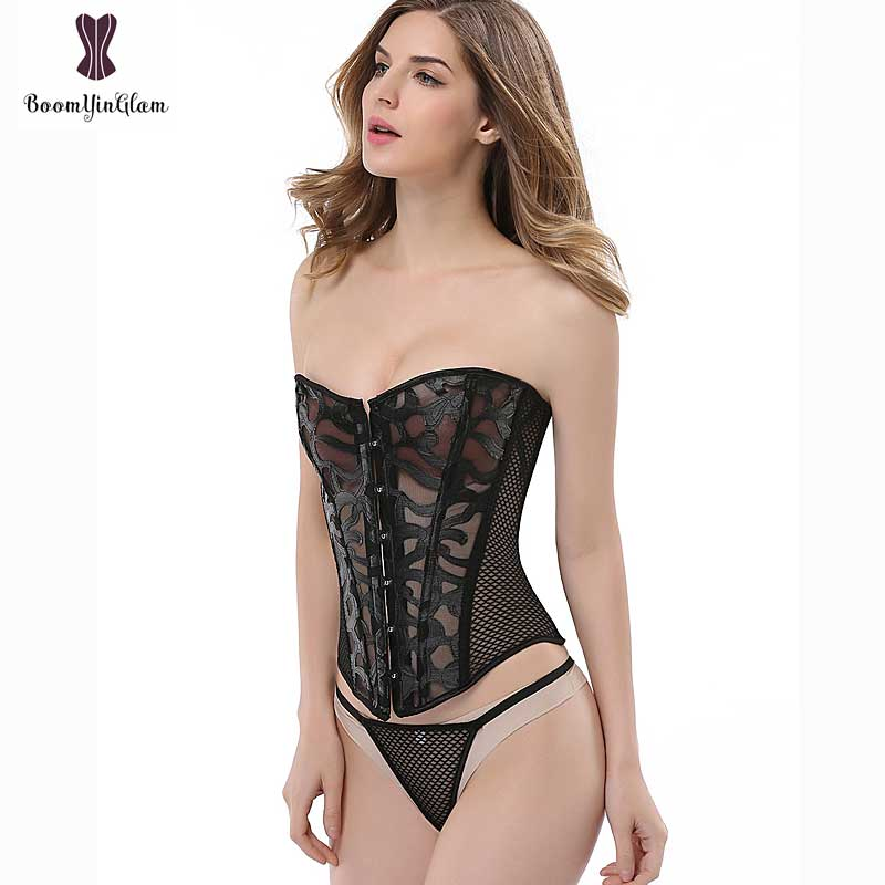 48004e407207d 930 High quality transparent net corselet hollow out body shaper ...