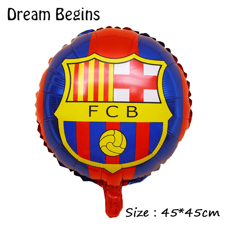 Image 2 - DB 2Pcs 18inch La Liga football league team match Barcelona Real Madrid jersey fans carnival bar celebration decoration balloons-in Ballons & Accessories from Home & Garden