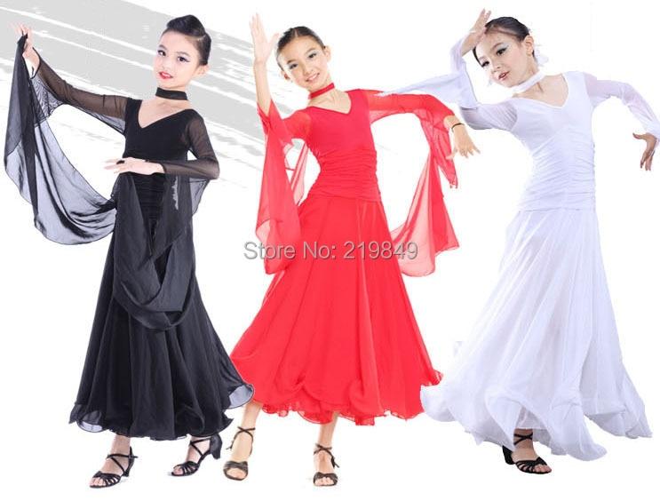 Childrens Latin Salsa Ballroom Dance Dress Girls Dancewear costumes 3 colors - Online store