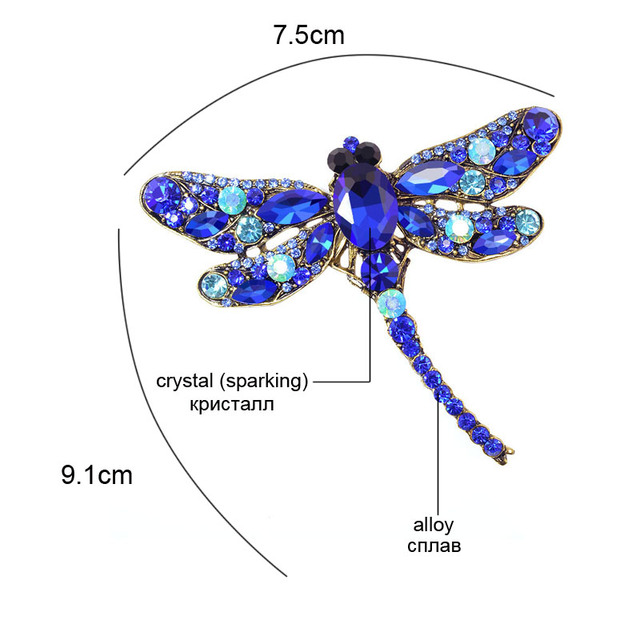 CINDY XIANG Crystal Vintage Dragonfly Brooches for Women Large Insect Brooch Pin Fashion Dress Coat Accessories Cute Jewelry 2