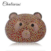 CHALIWINI Factory Wholesale Lovely Handmade Bear shape crystal clutch bag women brand bag style evening clutch crystal