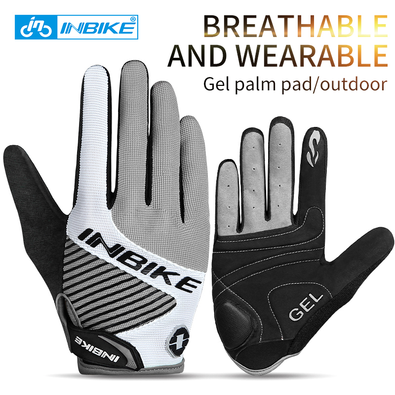 INBIKE 2018 New Gel Full Finger Touch Screen Bike Cycling Gloves Anti-skip Shockproof Breathable Bicycle MTB Sports Gloves 469