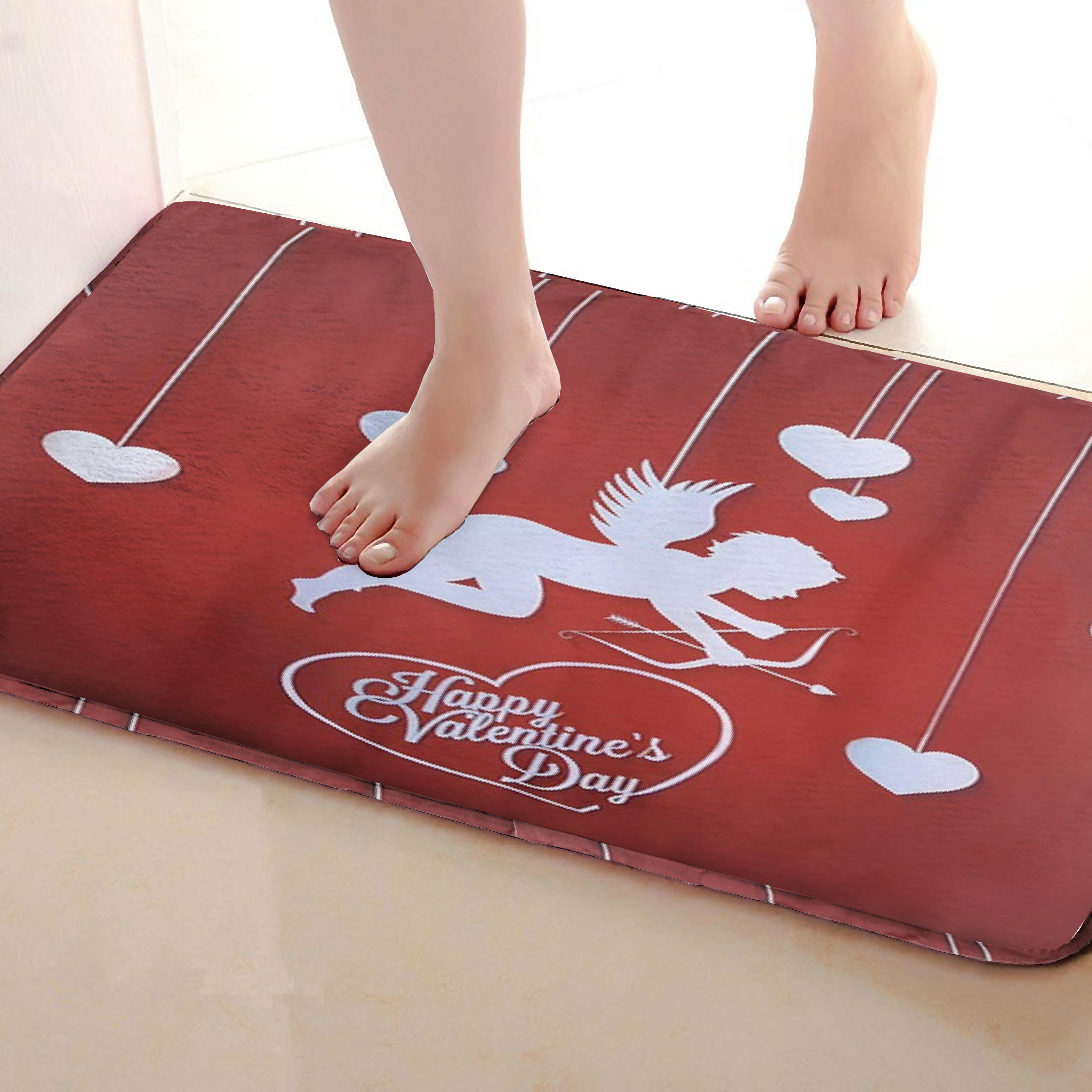 Cupid Style Bathroom Mat,Funny Anti Skid Bath Mat,Shower Curtains Accessories,Matching Your Shower Curtain